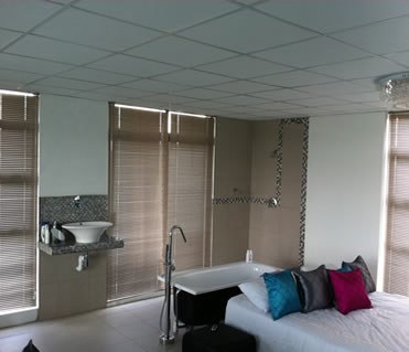 These 25 mm aluminium Venetian blinds both blend in with the rooms colour scheme and contols the light in this room.